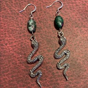 3/$30 Fuschite Snake Earrings